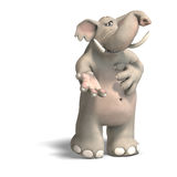 Toon elephant invites. Cartoon elephant invites you to his party. With Clipping Path over whire royalty free illustration