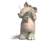 Toon elephant thinking Royalty Free Stock Photo
