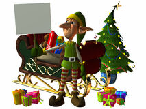 Toon Elf with Sign vector illustration