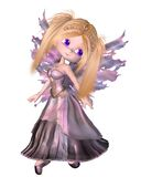 Toon Fairy Princess in Purple Dress. Cute toon fairy princess with purple dress and wings and gold tiara, 3d digitally rendered illustration vector illustration
