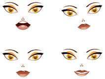 Toon female face with yellow eyes Stock Photos