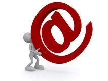 Toon figure with an email sign. 3d toon figure carrying a large red email sign, white background Stock Images