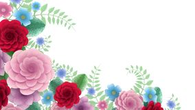 Toon flowers growing, appearing, botanical background, decorative corner frame, blank space for text, pencil style
