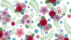 Toon flowers growing, appearing, botanical tile solid background, full frame, pencil style cartoon, white background stock illustration