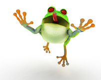 Toon frog jumping Royalty Free Stock Images