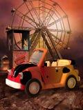 Toon fun fair. Colorful fun fair with a toy car vector illustration