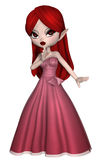 Toon girl in a long dress. 3D render of a toon girl in a long pink dress royalty free illustration