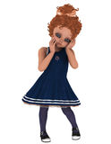 Toon girl in Navy Dress Stock Photography