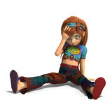 Toon girl sitting on the floor unhappy Royalty Free Stock Image