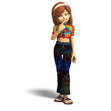 Toon girl thinking. Young cartoon girl is thinking. With clipping path and shadow over white royalty free illustration