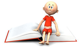Toon guy sitting on a book Royalty Free Stock Photos