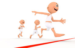 Toon guys running, team leader. Toon guys running. A team leader first, conceptual Royalty Free Stock Image