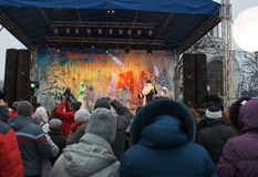 Toon in het stadsvierkant tijdens de viering van het nieuwe jaar Stock Foto