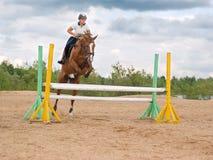 Toon jumping.girl stock foto