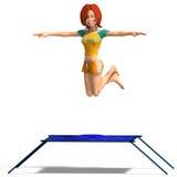 Toon kid enjoys trampoline Stock Image