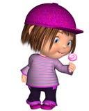 Toon Kid Standing bonito com pirulito cor-de-rosa Imagens de Stock