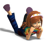 Toon-Mädchen, das auf den Fußboden legt Stockfotos
