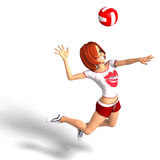 Toon-Mädchen spielt Volleyball vektor abbildung