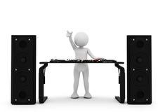 Toon man DJ spinning music on mixer. White background Royalty Free Stock Image