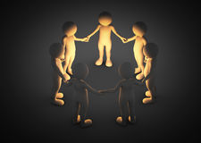 Toon men holding hands in a circle. Light shining. Brainstorm, teamwork, connection concept Royalty Free Stock Photos