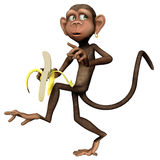 Toon monkey with a banana. 3D render of a toon monkey with a banana stock illustration