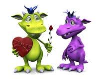 Toon Monster Giving Rose To Girl Monster. Royalty Free Stock Photo
