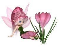 Toon Pink Crocus Fairy lindo, sentándose por una flor Fotografía de archivo