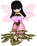 Toon Pink Cyclamen Fairy lindo, colocándose Fotografía de archivo