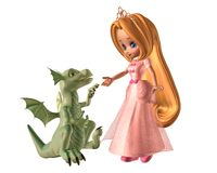 Toon Princess and Baby Dragon. 3d Digitally rendered illustration of a pretty toon fairytale princess and her pet baby dragon Stock Photo