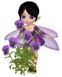 Toon Purple Pansy Fairy mignon, se tenant Images stock