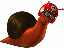 Toon Racing Snail. 3D Render of an Toon Racing Snail Royalty Free Stock Images