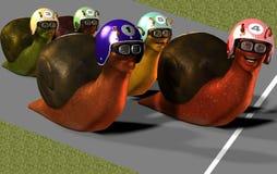Toon Racing Snails. 3D Render of Toon Racing Snails Royalty Free Stock Image