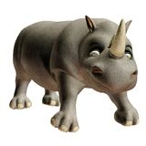 Toon rhino. 3D render of a cute toon rhino stock illustration