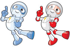 Toon Robot Presenting. Two robot with their arms spread out as if to present something Stock Photos