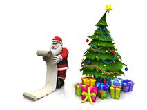 Toon Santa die lange wishlist houdt. Stock Afbeeldingen