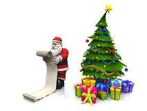 Toon Santa que sostiene wishlist largo. Imagenes de archivo