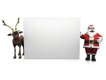 Toon Santa and reindeer with big blank sign. Royalty Free Stock Photography