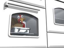 Toon Thanksgiving Turkey in Oven vector illustration