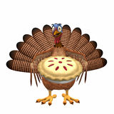 Toon Turkey - Cherry Pie. A smiling cartoon turkey holding out a cherry pie. Isolated on a white background Royalty Free Stock Photography