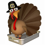Toon Turkey Roaster in Pilgrim Hat Royalty Free Stock Image