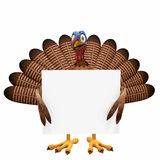 Toon Turkey Sign. A smiling cartoon turkey holding a blank sign. Isolated on a white background vector illustration