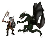 Toon Viking Dwarf and Dragon. Toon Viking warrior with an axe fighting a dragon, 3d digitally rendered illustration Stock Images