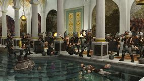 Toon Viking Horde in the Bath House. Toon Viking Dwarf Horde partying in a Roman bath house, 3d digitally rendered illustration Royalty Free Stock Image