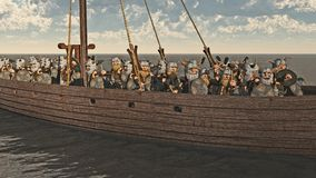 Toon Viking Longship and Crew. Horde of Toon Viking Dwarfs on their longship, 3d digitally rendered illustration Royalty Free Stock Photography