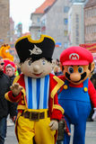 Toon Walk–Mascots Parade-Nuremberg 2016. Toon Walk –Comic Parade during International Toy Fair -Nuremberg,Germany, Capitan Sharky, Super Mario Stock Images