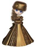 Toon Winter Princess no ouro Fotos de Stock Royalty Free