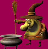 Toon witch. A funny withc looking into the kettles Royalty Free Stock Photos