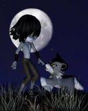 Toon Wolf Boy και λύκος της Pet Στοκ φωτογραφία με δικαίωμα ελεύθερης χρήσης
