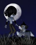 Toon Wolf Boy and Pet Wolf Royalty Free Stock Photo
