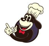 Toons de vintage : rétro chien de chef de bande dessinée, chapeau de cuisinier, dirigeant le doigt Image libre de droits